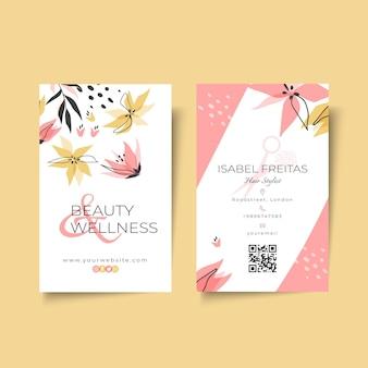 Plantilla vertical de tarjeta de visita de doble cara de salón de belleza