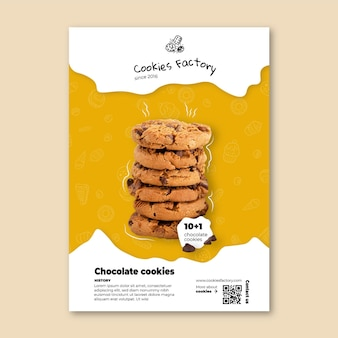 Plantilla vertical de volante de cookies