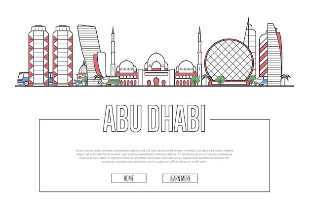 Plantilla de viaje a abu dhabi en estilo lineal