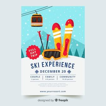 Plantilla de viaje para esquiar