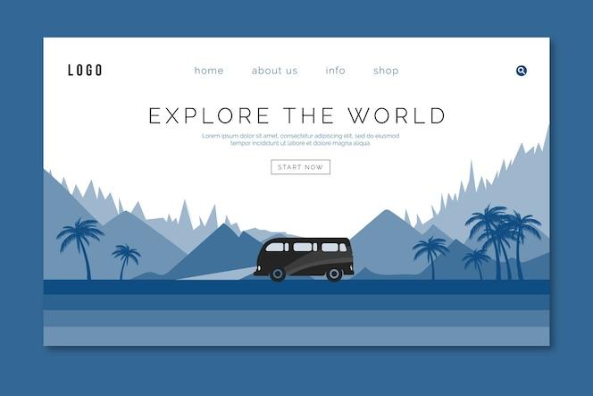 Plantilla de viaje de página de destino en color azul clásico