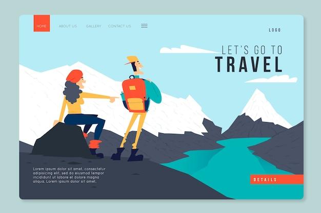 Plantilla de viaje de la página de destino