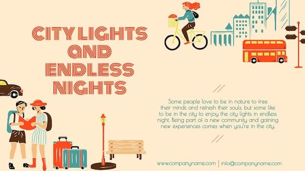 Plantilla de viaje de recorrido por la ciudad para presentación de negocios de agencias de marketing