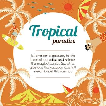 Plantilla de viaje de sol tropical para agencias de marketing