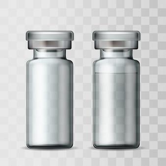 Plantilla de vial médico de vidrio transparente con tapa de aluminio. ampolla de vidrio vacía y ampolla con vacuna o fármaco para tratamiento médico. maquetas realistas de botellas con medicamento inyectable.