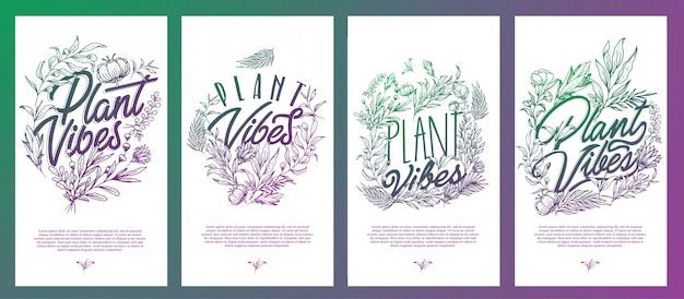 Plantilla de vibraciones de plantas con flores y hojas decorativas a mano