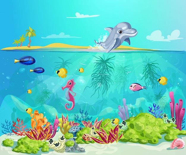 Plantilla de vida marina de dibujos animados