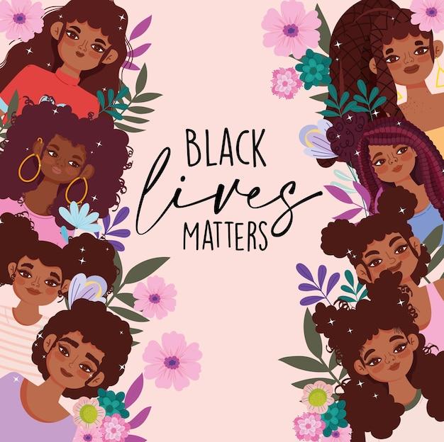 Plantilla de vida negra con chicas afroamericanas