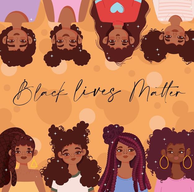 Plantilla de vida negra con chicas jóvenes negras