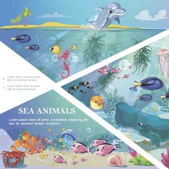 Plantilla de vida submarina de dibujos animados con criaturas de animales marinos, algas marinas y corales