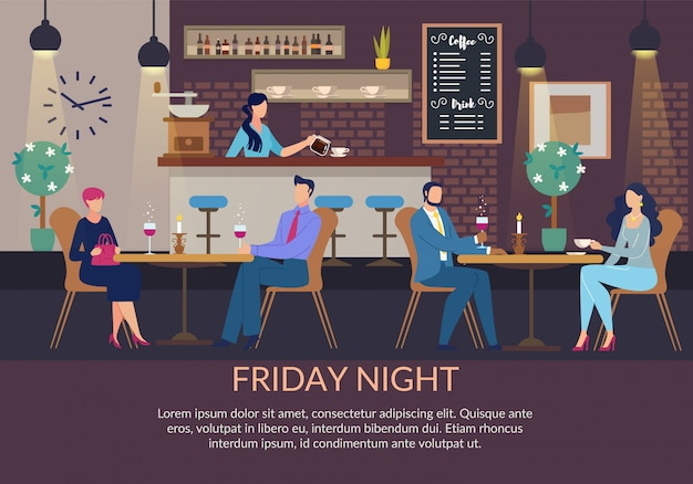 Plantilla de viernes por la noche y parejas en cena romántica