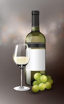 Plantilla de vino blanco realista