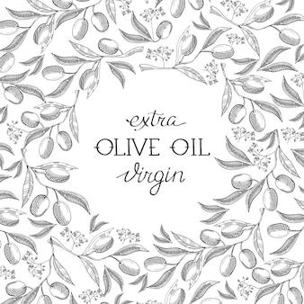 Plantilla vintage abstracta de aceite de oliva
