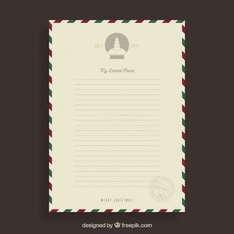 Plantilla vintage de una carta de navidad a un amigo