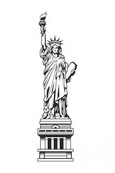 Plantilla vintage de la estatua de la libertad