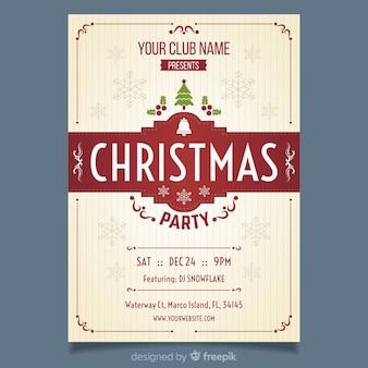Plantilla vintage para flyer de fiesta de navidad
