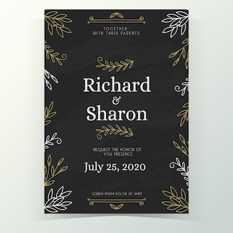 Plantilla vintage de invitación de boda