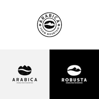 Plantilla vintage de logotipo de grano de café y montaña