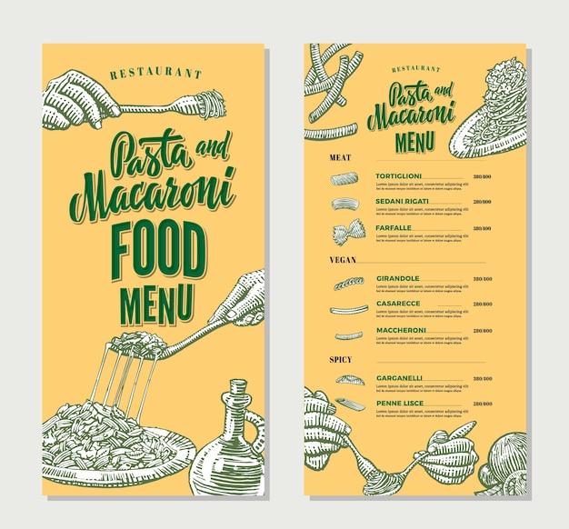 Plantilla vintage de menú de comida de restaurante de pasta