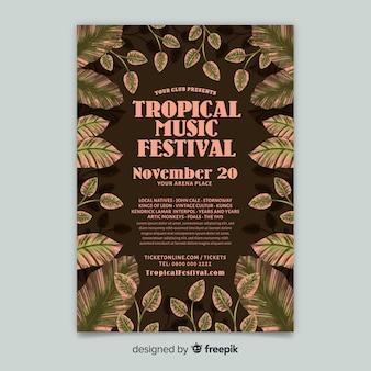 Plantilla vintage de poster de festival de música tropical