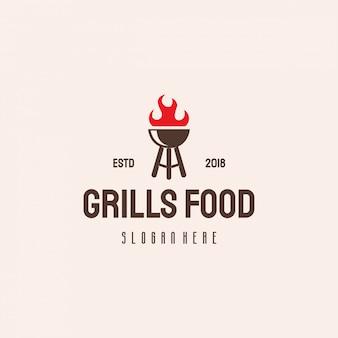 Plantilla vintage retro de hipster de logo de comida de parrilla, plantilla de logotipo de barbacoa