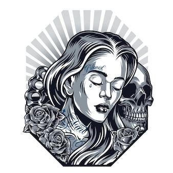 Plantilla vintage de tatuaje chicano