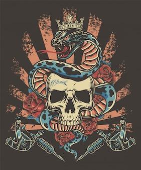 Plantilla vintage de tatuaje colorido