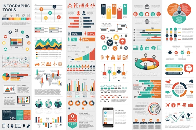 Plantilla de visualización de datos de elementos de infografía