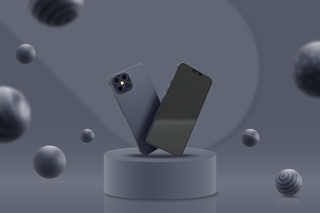 Plantilla de visualización con teléfonos móviles