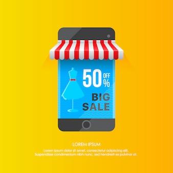 Plantilla vívida de pantalla de teléfono inteligente con gran venta