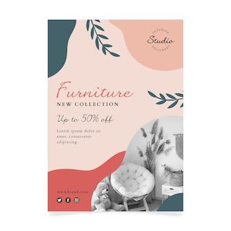 Plantilla de volante a5 de colección de muebles dibujados a mano