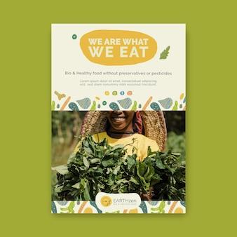 Plantilla de volante de alimentos saludables y bio