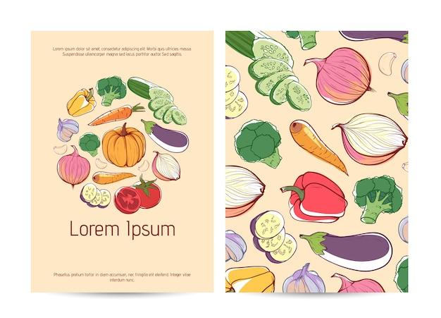 Plantilla de volante de alimentos saludables con verduras frescas