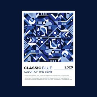 Plantilla de volante azul clásico abstracto