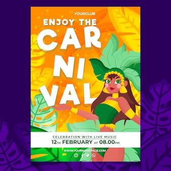 Plantilla de volante de carnaval brasileño dibujado a mano
