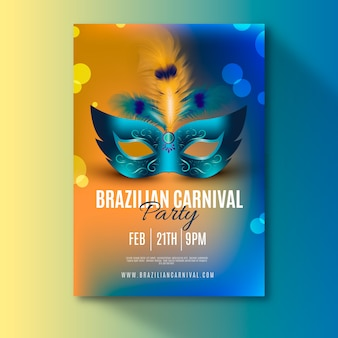 Plantilla de volante de carnaval brasileño realista