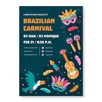 Plantilla de volante de carnaval brasileño