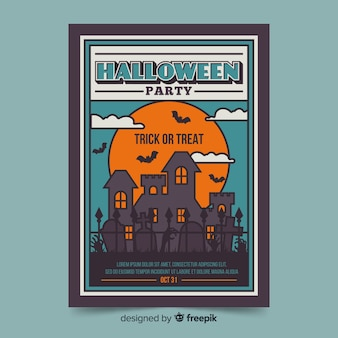 Plantilla de volante - casa al atardecer fiesta de halloween