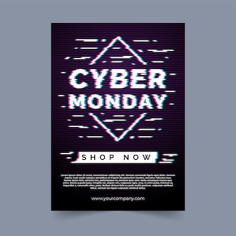 Plantilla de volante de ciber lunes en diseño plano