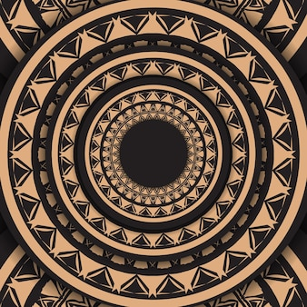 Plantilla de volante de color negro con adorno vintage marrón