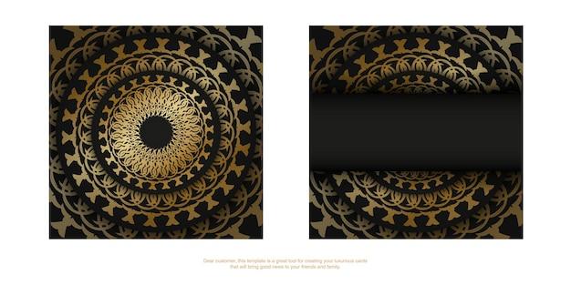 Plantilla de volante de color negro con adornos vintage dorados