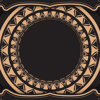 Plantilla de volante de color negro con patrón vintage marrón