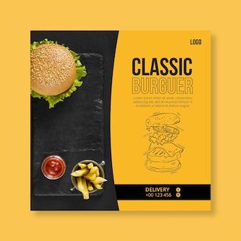 Plantilla de volante de comida americana con foto de hamburguesa