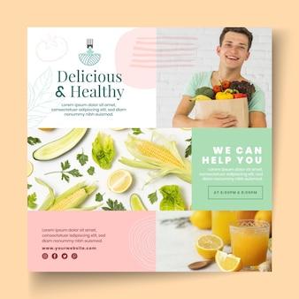 Plantilla de volante de comida bio y saludable