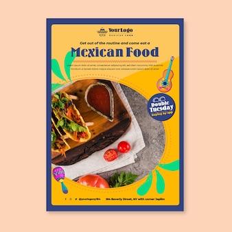Plantilla de volante de comida mexicana deliciosa