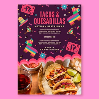 Plantilla de volante de comida de restaurante mexicano