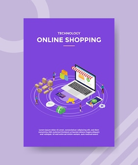 Plantilla de volante de compras en línea de tecnología