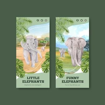 Plantilla de volante con concepto de elefante funning, estilo acuarela