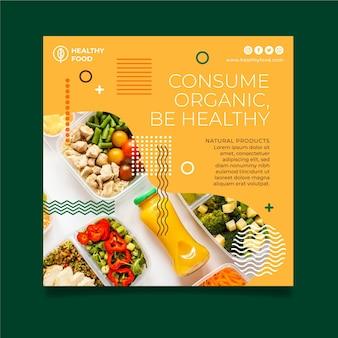 Plantilla de volante cuadrado de alimentos bio y saludables