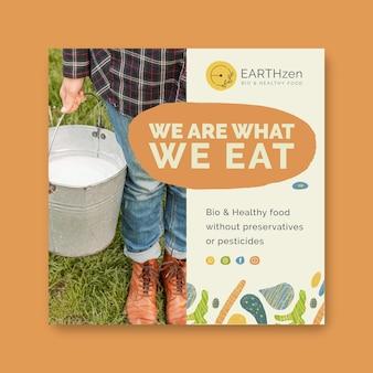 Plantilla de volante cuadrado de alimentos saludables y bio